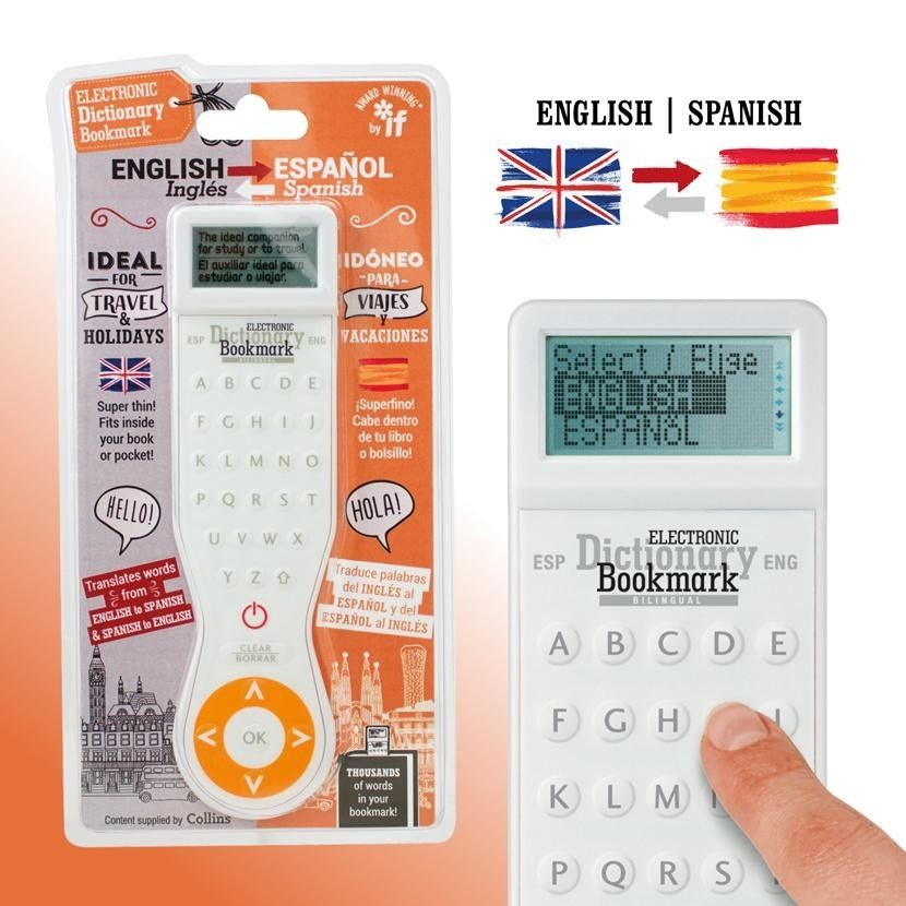 Electronic Dictionary Bookmark Bilingual (Spanish-English, English-Spanish)